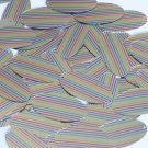 "Sequin Oval 1.5"" Rainbow Pinstripe Print on Shiny Metallic"