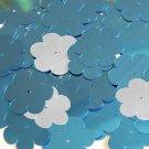 "Flower Sequin 1"" / 25mm Blue Silver Metallic Couture Paillettes"