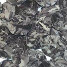 Sequin Round 30mm Black Silver Bird Feathers Print Metallic
