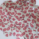 """Oval Sequin 1.5"""" Red Lips Kiss Lipstick Print Silver Metallic Couture Paillettes"""