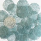 Round Sequin 40mm Aqua Blue Silky Fiber Strand Fabric Couture Paillettes