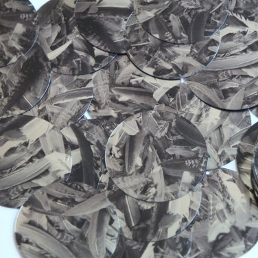 "Sequin Round 1.5"" Black Silver Bird Feathers Print Metallic"