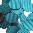 "Round Sequin 1.5"" Teal Blue Green Corrugated Stripe Metallic"