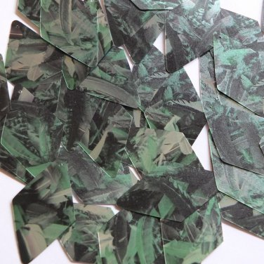 "Sequin Long Diamond 1.75"" Green Silver Bird Feathers Print Metallic"