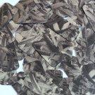 "Sequin Rectangle 1.5"" Black Silver Bird Feathers Print Metallic"