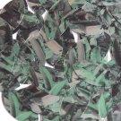 "Sequin Navette Leaf 1.5"" Green Silver Bird Feathers Print Metallic"