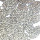 "Sequin Navette Leaf 1.5"" Mehndi Print Pattern Black Silver Metallic"