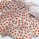 """Sequin Rectangle 1.5"""" Sweet Hearts Print Red Silver Metallic"""