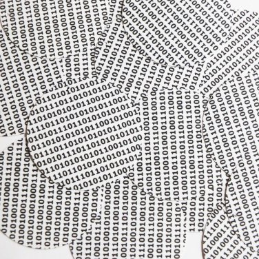 "Sequin Round 2"" Black White Binary Tech Code Print Out Opaque"