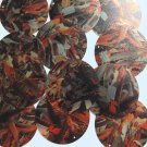 "Sequin Round 2"" Orange Silver Bird Feathers Print Metallic"