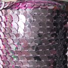 Pink Metallic Large Sequin Trim 10mm flat strung by the yard. Made in USA.