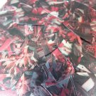 "Sequin Fishscale Fin 1.5"" Red Silver Bird Feathers Print Metallic"