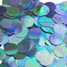 20mm Sequins Center Hole Aqua Metallic Iris Rainbow Iridescent. Made in USA