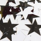 "Sequin Star 5 Point 1.5"" Black and White Duo Two Sided Opaque. Made in USA"
