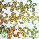 "Sequin Fleur De Lis 1.25"" Gold Hologram Glitter Sparkle Metallic. Made in USA"