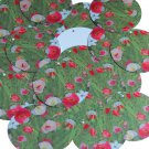 "Round Sequin 1.5"" Pink Red Poppy Field Flowers Poppies Opaque"