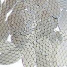 "Sequin Oval 1.5"" Black Silver Fish Scale Skin Effect Metallic"
