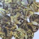 Sequin Round 30mm Yellow Silver Bird Feathers Print Metallic