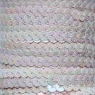 "Baby Pink Rainbow Iris Sequin Trim 6mm 1/4"" wide stitched strung by yard 15'"