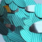 "Oval Sequin 1.5"" Teal Blue Green Corrugated Stripe Metallic"