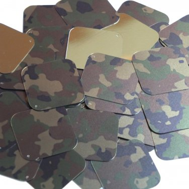"Square Diamond Sequin 1.5"" Camo Brown Green Camouflage Gold Metallic"
