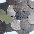 "Teardrop Sequin 1.5"" Deep Brown Distressed Crocodile Print Metallic"