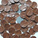 15mm Vinyl Disc Brown Wide Weave No Hole Round Circle