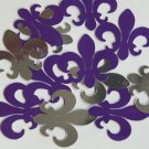 "Sequin Fleur De Lis 1.25"" Purple Silver Metallic Couture Paillettes. Made in USA"