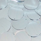 Sequin Round 30mm Aqua Silver Pinstripe Pattern Metallic Couture Paillettes