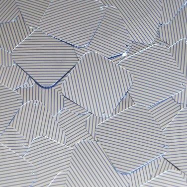 "Sequin Square Diamond 1.5"" Blue Silver Pinstripe Metallic Couture Paillettes"