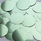 """Round Sequin 1.5"""" Green Silver Chevron Zig Zag Pattern Metallic"""