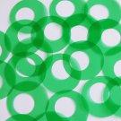 "Sequin 1.5"" Offcenter Donut Vinyl Go Go Trans Green. Made in USA"
