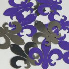 "Sequin Fleur De Lis 1.5"" Purple Silver Metallic Couture Paillettes. Made in USA."