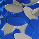 Royal Blue Silver Sequin Oval 1.5 inch Two Sided Large Couture Paillettes