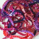 """5mm Cup Sequin Trim Sampler Pack. 10 (12"""") pieces. Colors: Pink Purple Fuchsia"""