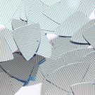 "Sequin Fishscale 1.5"" Aqua Silver Pinstripe Pattern Metallic Couture Paillettes"