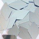 "Sequin Long Diamond 1.75"" Aqua Silver Pinstripe Pattern Metallic Couture Paillet"