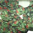 """Round Sequin 1.5"""" Holly Leaves and Berries Green Leaf Red Berry Metallic"""