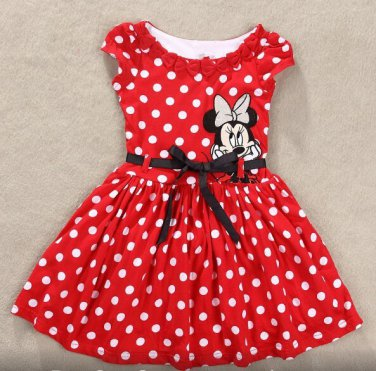 New Summer Girls Dress Tutu Princess Baby Mickey Minnie Mouse  Dress