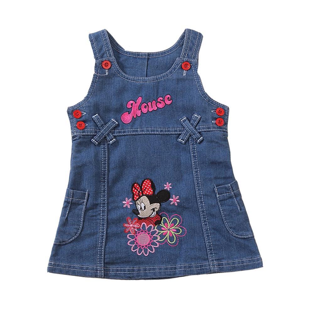 Summer Girls Dress Cute Cartoon Printed Children Clothes High Quality Jeans Kids