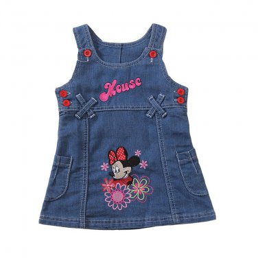 Summer Girls Dress Cute Cartoon Printed Children Clothes High Quality Jeans Kids