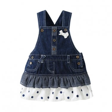 Girls Denim Dress Overalls 2016 Spring Autumn Style Kids Girl Jean Bow Straps High Quality
