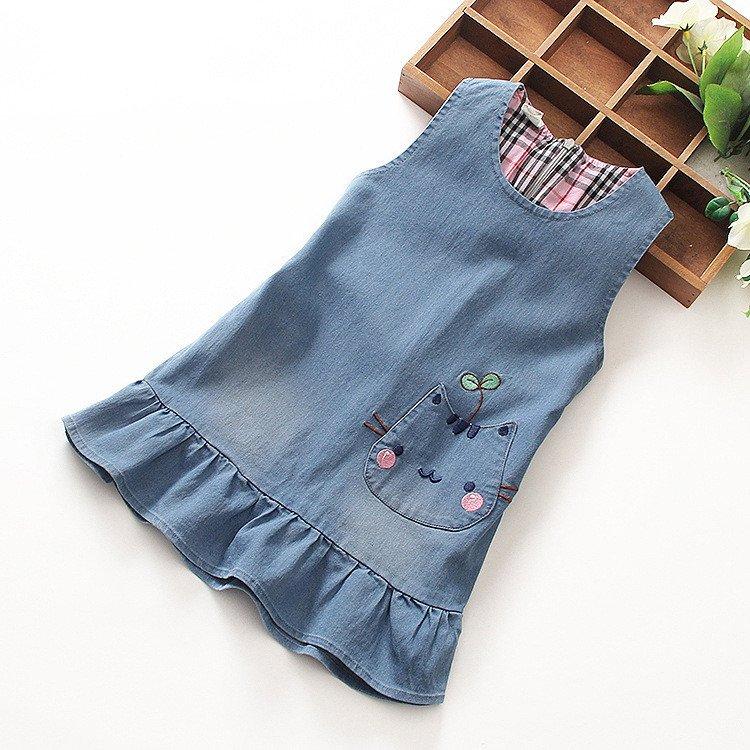 2017 Kids Dress Jeans Children Cat Dress Casual Wear Girls Summer Cowboy Clothing Princess Dress
