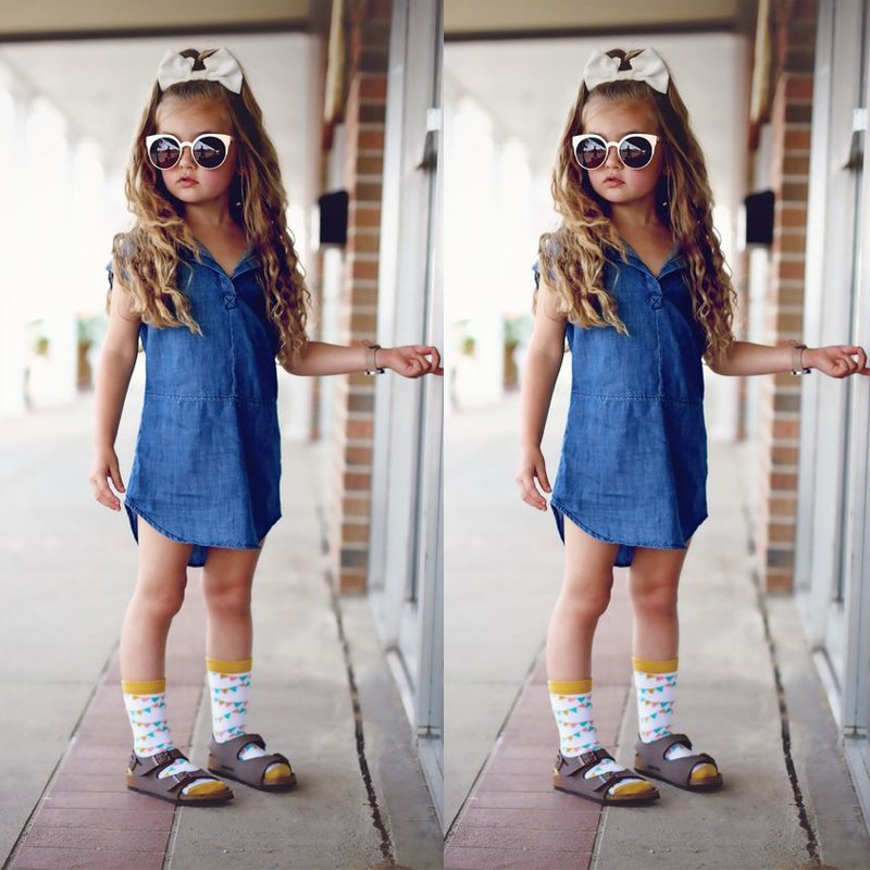 Children Girls jeans dress Kids Denim Dress Princess Party Dress Knee Length