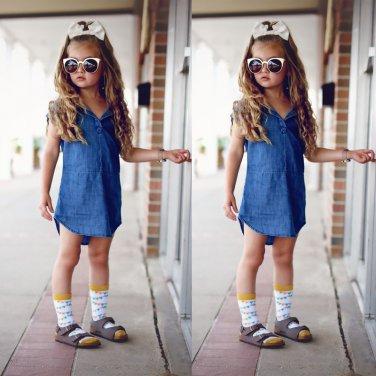 Children Girls jeans dress Kids Denim Dress Princess Party Dress Knee Length