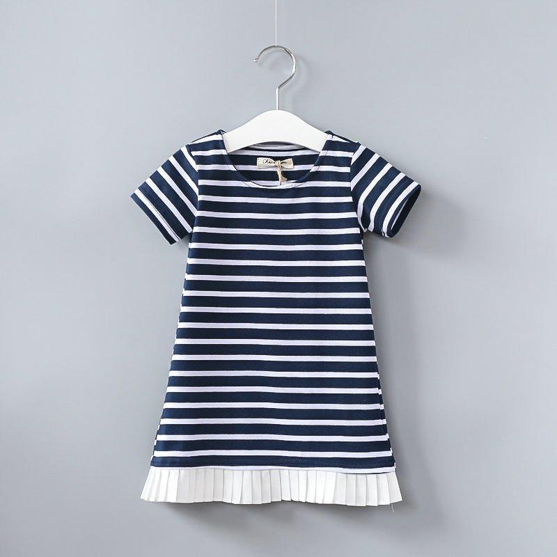 New fashion hot girl dress kids clothing striped dress for girl