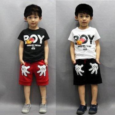2PCS Toddler Boy Kids Outfits T-shirt+Shorts Clothes Set 2-7Y