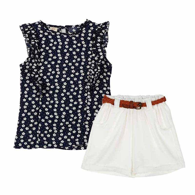 Summer Toddler Kids Baby Girls Clothes Sets Floral Chiffon Polka