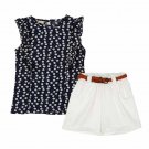 Summer Toddler Kids Baby Girls Clothes Sets Floral Chiffon Polka