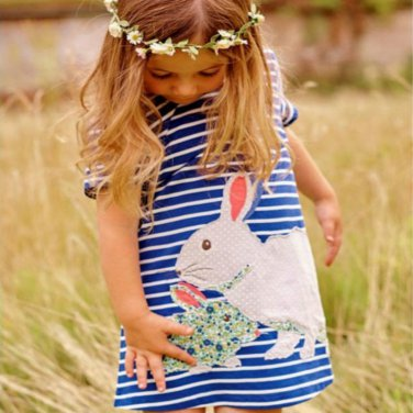Pudcoco 2017 Hot Cute Baby Kids Girls Summer Dress Rabbit Cartoon Striped Dress Clothes